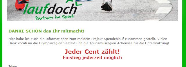 Laufdoch.de - unterstützt einen guten Zweck - tus-do.ch ist dabei